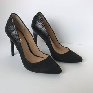Joe's Jeans black suede classic pumps pointed toe